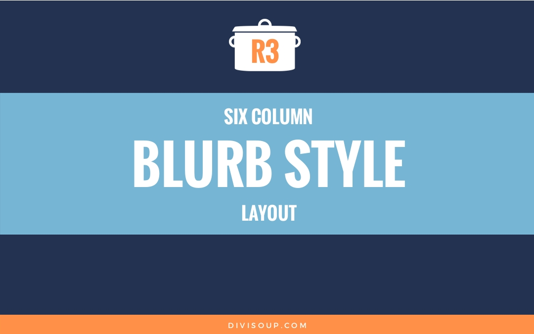 Six column blurb style layout