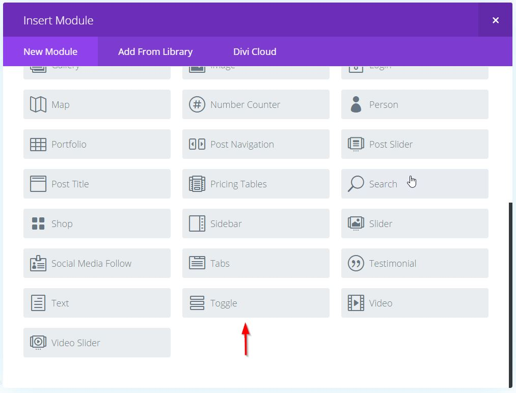 How to create a hidden slide in section using the divi toggle module