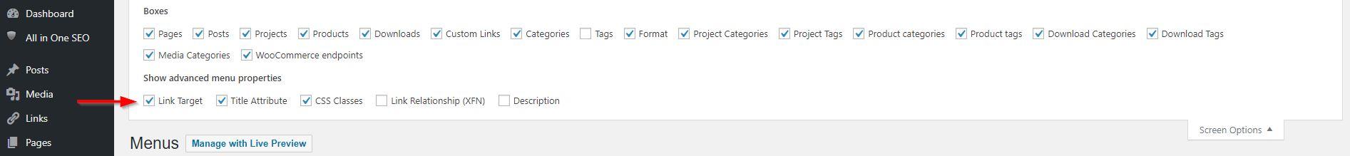 Open Divi menu links in a new window