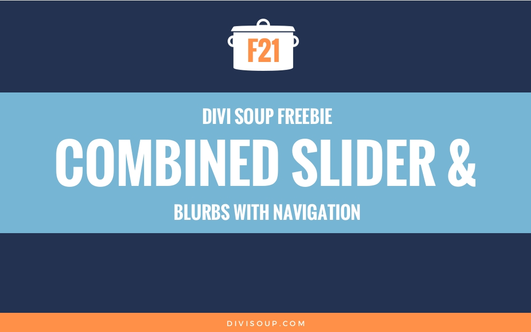 Combined Slider & Blurbs with Navigation Free Divi Layout