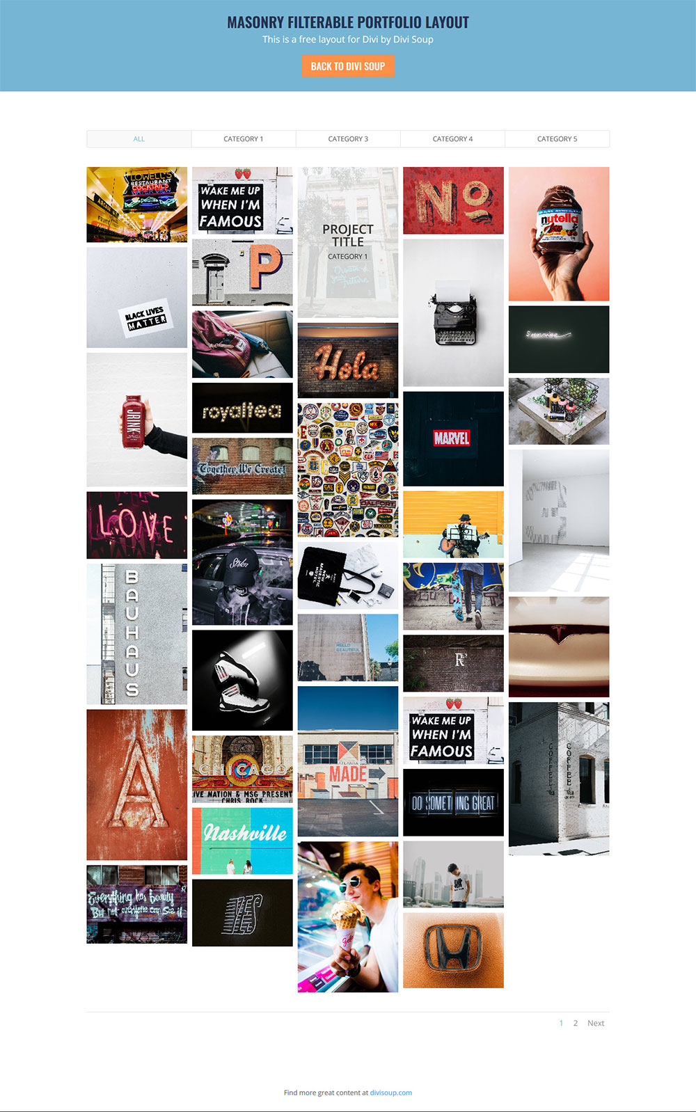 divi masonry gallery module free download